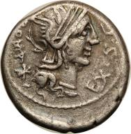 Rzym -Republika AR-denar M.Sergiusilus 116/115 pne