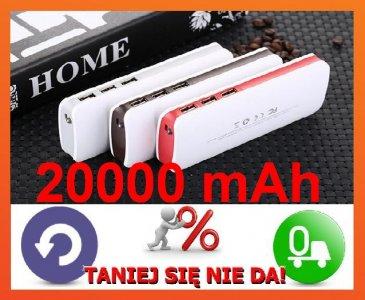 P37 POWERBANK 20000mAh 3X USB LATARKA ŁADOWARKA