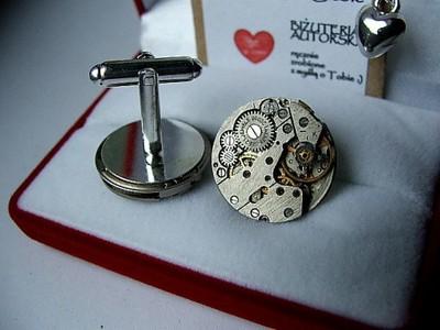 SPINKI do mankietów mechanizm zegar steampunk