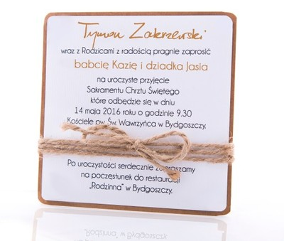 Zaproszenia Chrzest Roczek Eko Zestaw Hmade 6897386777