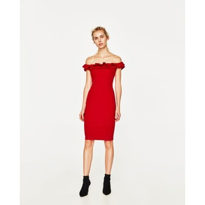 d879012720b4ae sukienka czerwona hiszpanka ZARA 36 nowa falbana - 6866202968 ...