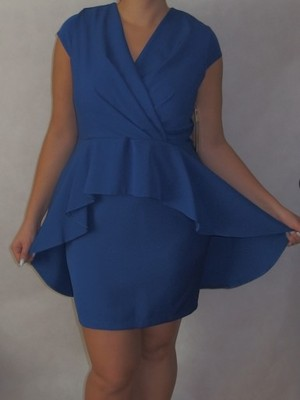 4fe6d35499 Sukienka z baskinką - chabrowa (Rozmiar  54) - 6724350052 ...