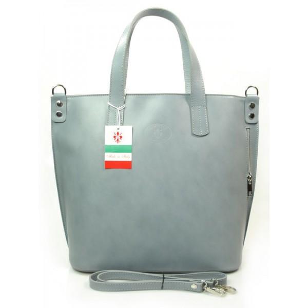 Genuine Leather Włoska torba Skóra Shopper Szary