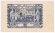 20 złotych (1936) druk jednostronny rewersu st. 3