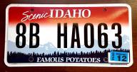 Idaho 2016 - tab rejestracyjna USA