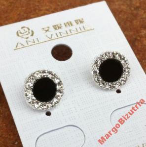 kolczyki srebrne , cyrkonie, czarne japan style