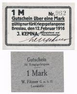 Śląsk notgeldy dla jeńców obozów I Wojna st. 1 UNC