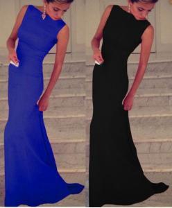 Długa sukienka suknia z trenem chabrowa czarna S