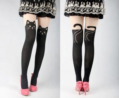 1fc51b889e51f3 Rajstopy zakolanówki kotek kot kitty Japan Style!! - 6830160759 ...
