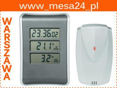 Termometr bezprzewodowy zewnętrzny czujnik + zegar