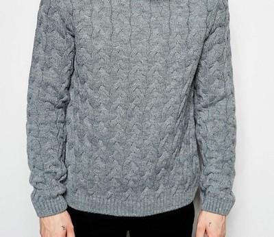 f84 sweter exASOS ciepły pleciony szary S