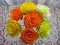 Bukiet 7 szt róż,ślub,imieniny,rękodzieło