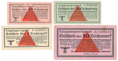 233. Uniwersalne bony obozowe 4szt od 1pf do 10mk