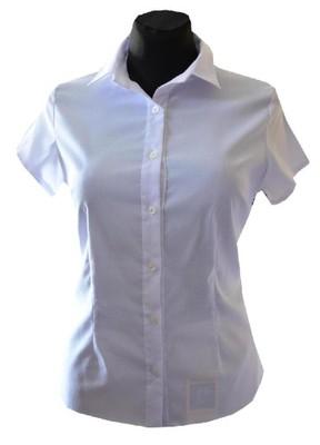 fb53c56219da16 Elegancka biała bluzka koszulowa krótki rękaw Ko - 6323896739 ...