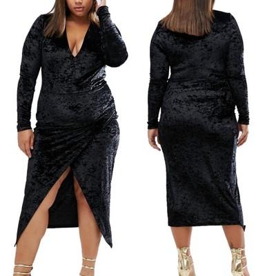00a2a7f613 D0 Club L Czarna aksamitna Sukienka rozmiar 50 - 6925477008 ...