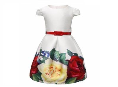 81e3af2a15 Sukienka W Kwiaty Wizytowa Ślub Wesele 116 122 - 6491580611 ...