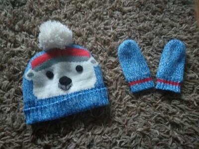 Czapka rękawiczki Mis pompon