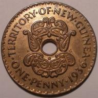NOWA GWINEA 1 penny 1936 RZADKI, STAN MENNICZY
