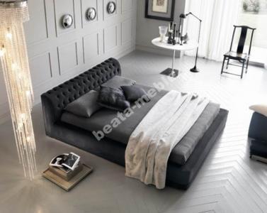 Nowoczesne Czarne łóżko Do Sypialni Plus Materac