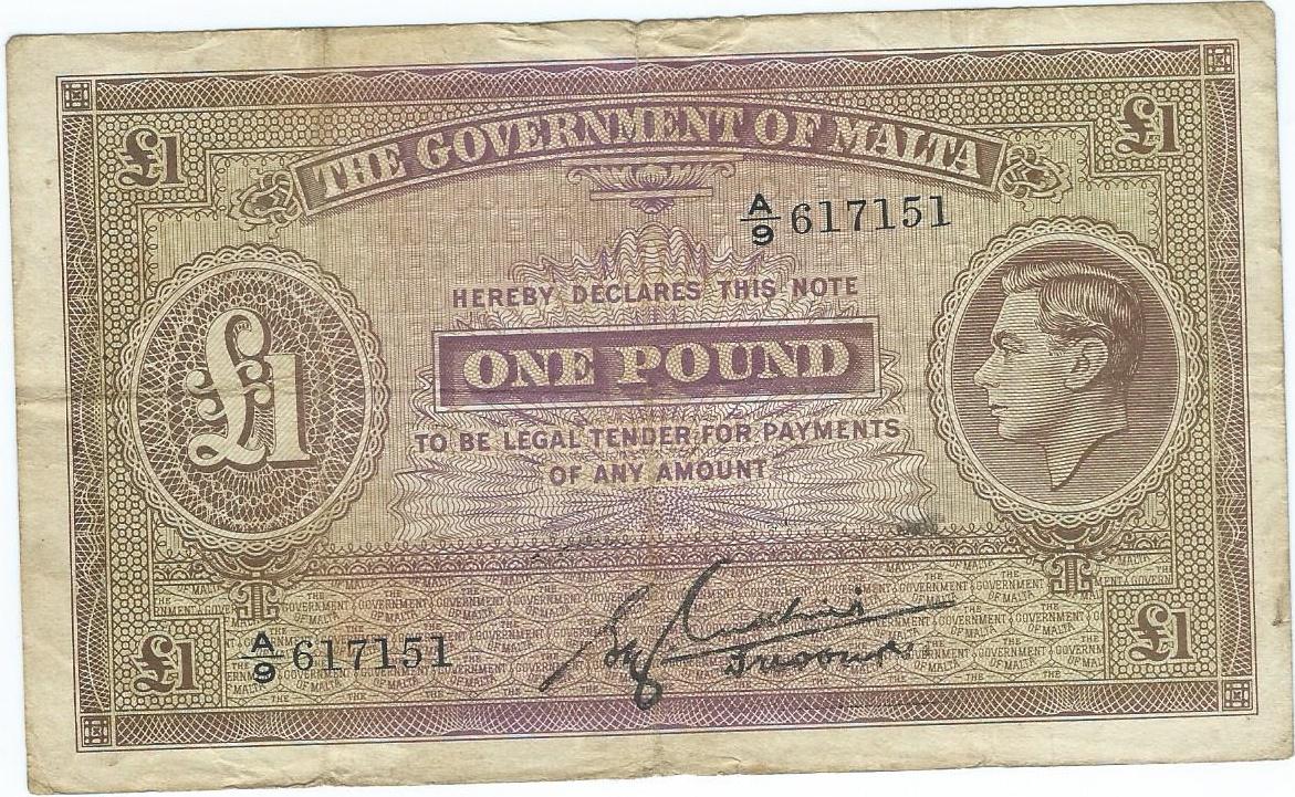 Malta 1 pound 1940r. rzadszy