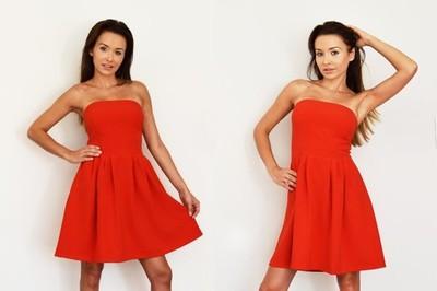 Sukienka Rozkloszowana Czerwona Bez Ramiaczek 6603994911 Oficjalne Archiwum Allegro