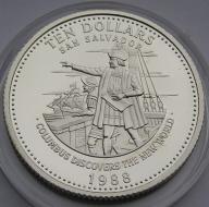 Bahamy 1988r. 10$ - KOLUMB - (srebro)