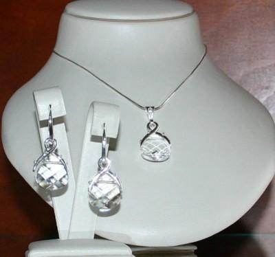 Komplet srebrny Beauty Crystal 8 SWAROVSKI ELEMENT