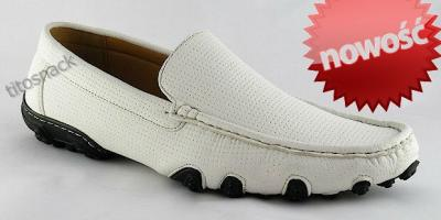 5ab46939da9c0 NOWOŚĆ BIAŁE mokasyny na lato SZYTE EXTRA buty 43 - 3336024418 ...