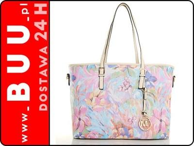 80a9924b6635d Torebka - Kolorowa Pastelowa W Kwiaty Beżowa ELZA - 6121665611 ...
