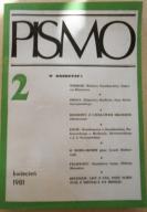 """Miesięcznik """"Pismo"""" Nr 2 - KWIECIEŃ 1981"""