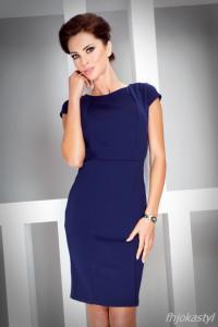 91f345c039 jokastyl GRANATOWA sukienka krótki rękaw M 38 - 5643512802 ...