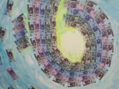 Prawo przyciągania pieniędzy obraz olejny 100x100
