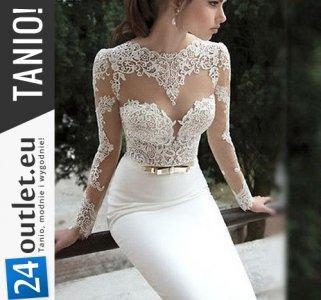 Tanio Biała Suknia ślub Cywilny Długa Sukienka S 6072406577