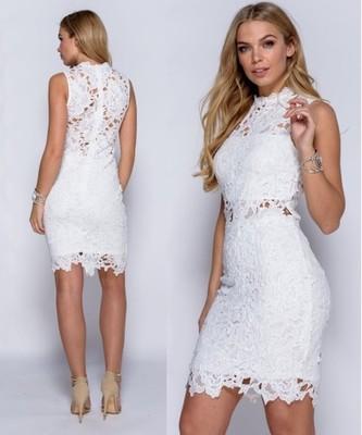 0eae0c82f1 asos a 42 XL sukienka biała gipiura koronka LILY - 6733465311 ...