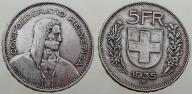 1935 Szwajcaria,5 frankaow,ladne duze srebro