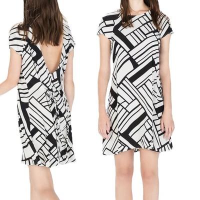 ZARA Biało Czarna Sukienka wiązana w pasie M 38