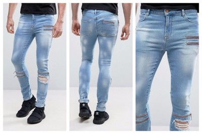 mm66 jeansy skinny dziury zamki niebieskie W36 L32