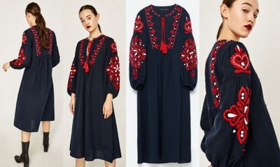sukienki haftowane boho zara alleg4o