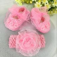 Opaska buciki 11cm dziewczynki sesja roczek różowe