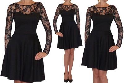 826fa8ab516 R CZARNA kołowana sukienka KORONKA 46 Dłuższa ? - 6614771441 ...