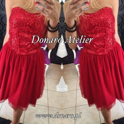 fcd46355 Sukienka czerwona tiul cekiny wesele Siwiec gorset