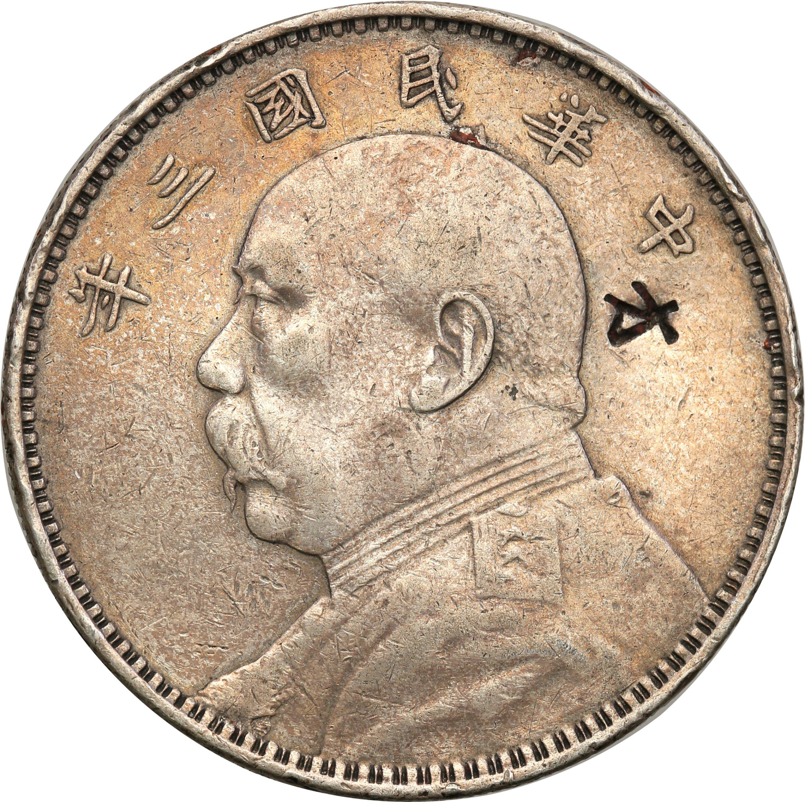 Chiny Repub. 1 Yuan (dolar) b.d. (1914) st.3 PUNCA