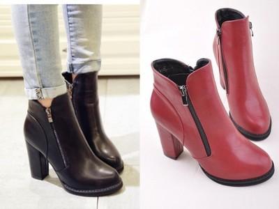 Buty botki damskie suwak czarne czerwone 35 42