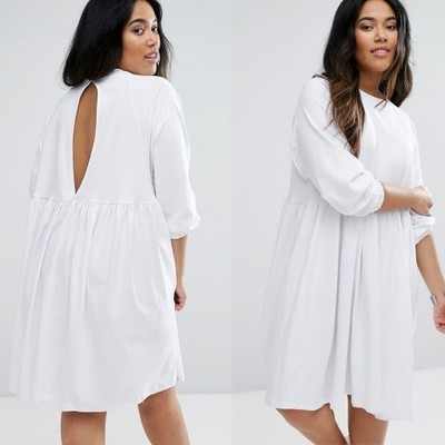 D5 Biała Sukienka midi plus size bawełniana 46