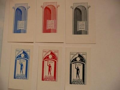 10 ekslibrisów Biblioteka Wilno 1970