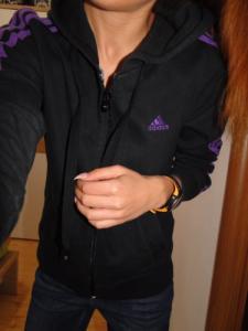 ADIDAS czarno fioletowa bluza sportowa kaptur SM