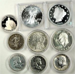 Amerykańskie srebrne dolary, 9 szt
