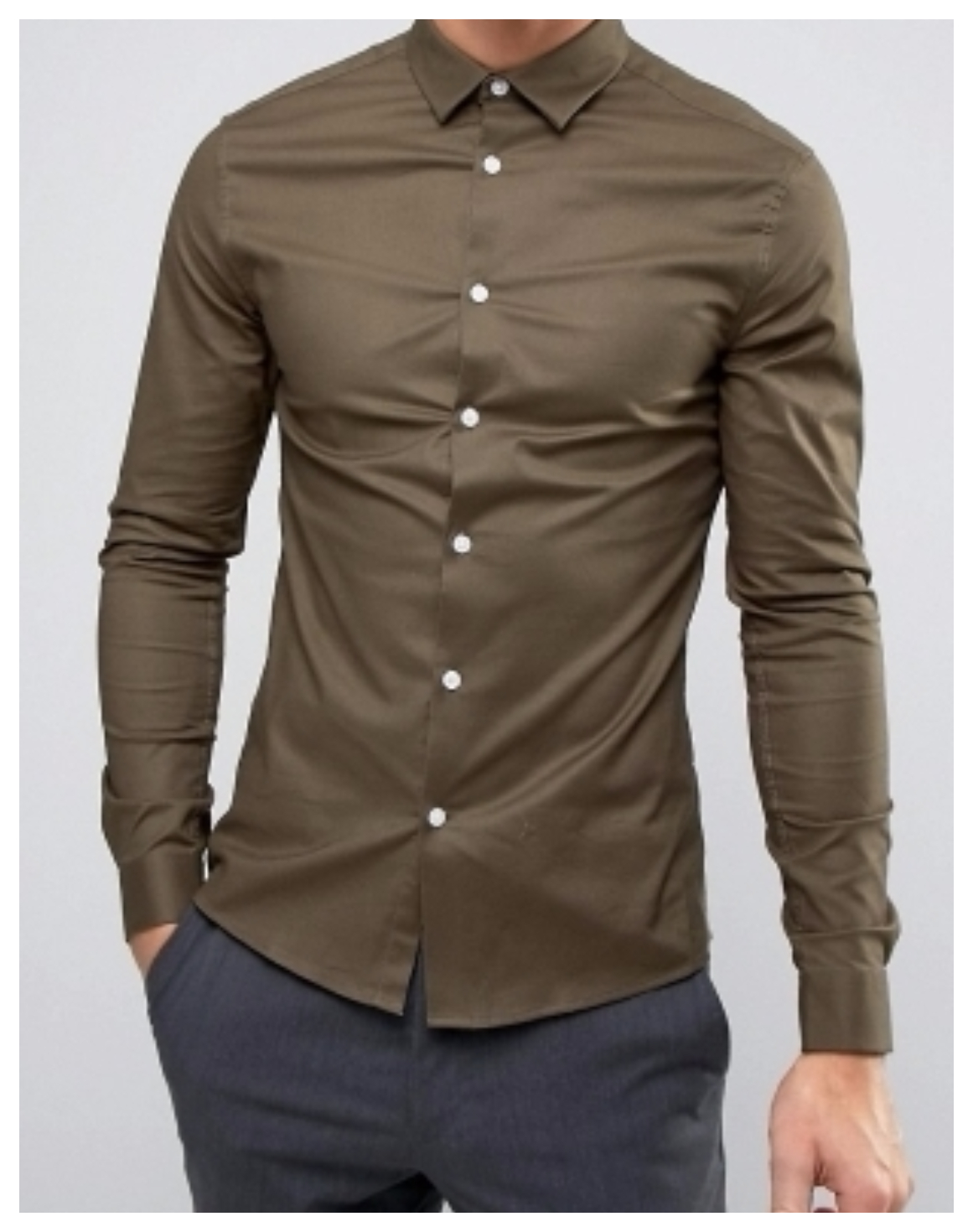 koszula męska khaki  casual gładka slim L